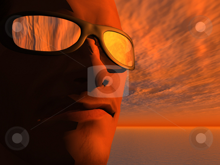 Sunset stock photo, Man face with sun glasses in the sunset - 3d illustration by J?