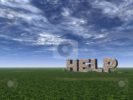 Help rock stock photo, Help rock on a green field - 3d illustration by J?