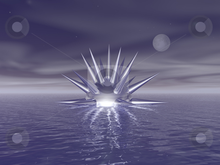 Sting stock photo, Abstract thing swims on thewater - 3d illustration by J?