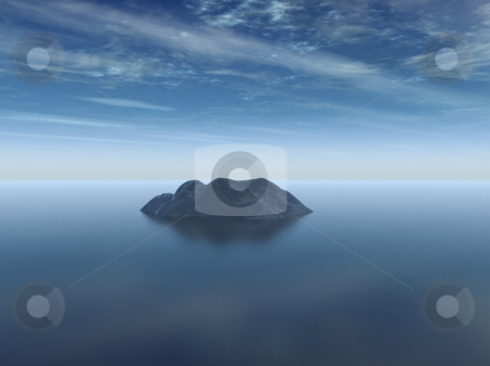Island stock photo, Lonely island at the ocean - 3d illustration by J?