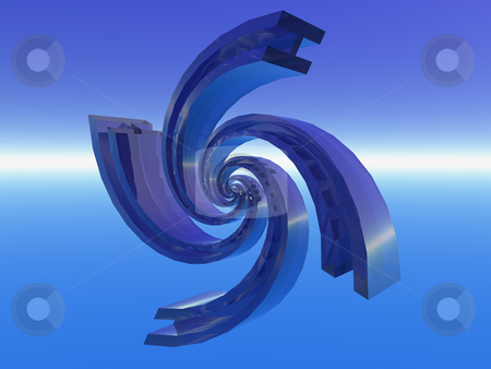 Spiral thing stock photo, Abstract swirl thing in the blue sky - 3d illustration by J?