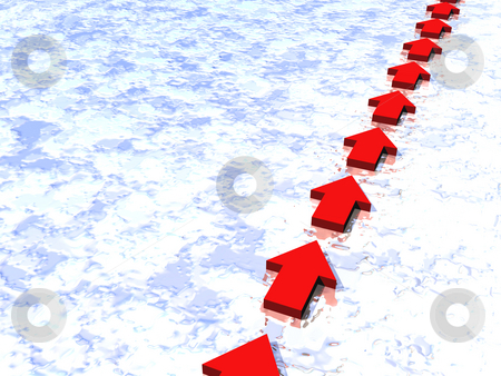 Direction stock photo, Direction pointer on snow background - 3d illustration by J?