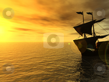 Sunset stock photo, Sailing ship in the sunset - 3d, illustration by J?