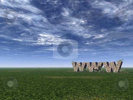Www rocks stock photo, Www rock on a green field - 3d illustration by J?