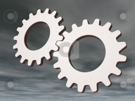 Gears stock photo, Two gears on cloudy sky - 3d illustration by J?