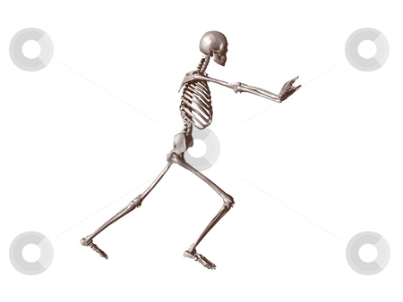 Push stock photo, A skeleton pushes what you want - 3d illustration by J?