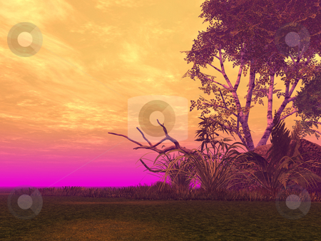 Colors stock photo, Landscape with strange light - 3d illustration by J?