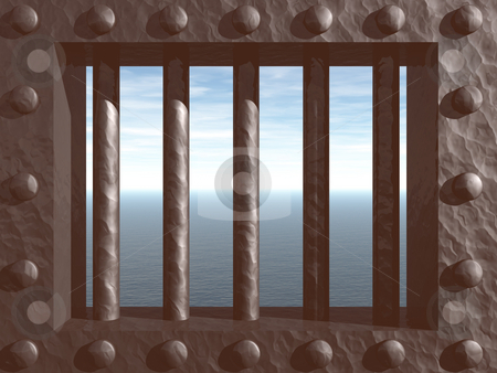 Prison stock photo, 3d illustration - prison window with view on the ocean by J?