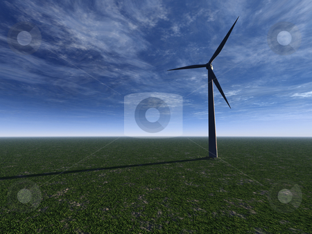 Windmill stock photo, Windmill on a gren field with cloudy sky - 3d illustration by J?