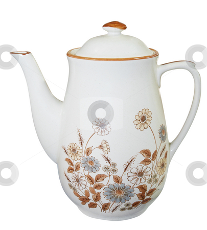 Floral China Teapot stock photo, Floral China Teapot isolated with clipping path by Margo Harrison