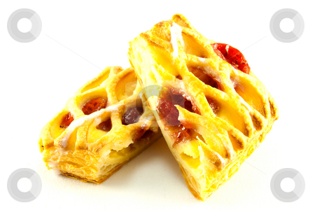Raspberry Danish stock photo, Raspberry and custard danish cut in half with clipping path on a white background by Keith Wilson