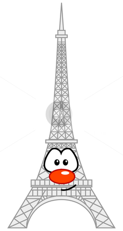Paris stock photo, Eiffel tower with comic face by J?