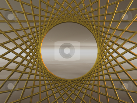 Net stock photo, Golden net - background illustration 3d by J?