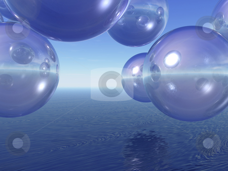 Blisters stock photo, Transparent balls fly over the sea - 3d illustration by J?