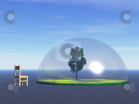 Nature stock photo, Tree under a glass dome and wooden chair - 3d illustration by J?