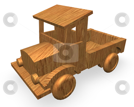 Toy truck stock photo, Wood car toy on white background by J?