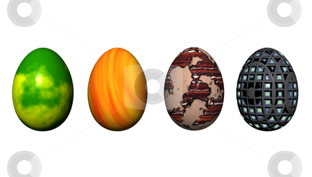 Eastereggs stock photo, 4 eastereggs on white background by J?