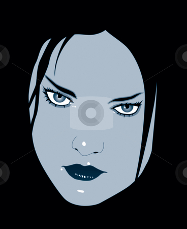 View stock photo, Woman face on black background by J?