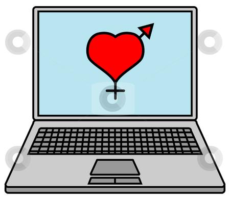 Internet flirt stock photo, Laptop with heart symbol by J?