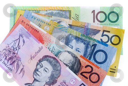 Aussie cash stock photo, 5 different denominations of australian bank notes by Stephen Gibson