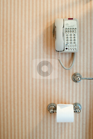 Toilet phone stock photo, Luxury bathroom with a phone in reach of the toilet by Stephen Gibson