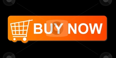 Buy Now Orange stock photo, Buy now button with a shopping cart on black background. by Henrik Lehnerer