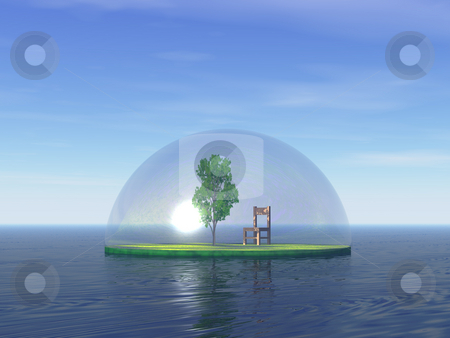 Island stock photo, Tree and chair under a glas dome by J?