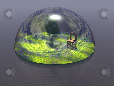 Safety stock photo, Tree and chair under a glas dome by J?