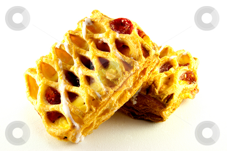 Two Raspberry Danish stock photo, Two raspberry and custard danish with clipping path on a white background by Keith Wilson