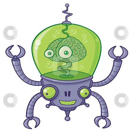 BrainBot Robot with Brain alien stock vector clipart, Vector cartoon illustration of a robot with a large brain with eyes in green liquid. BrainBot has four long arms with claws. by John Schwegel