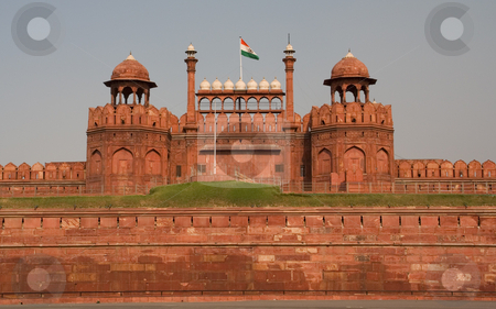 Lahore Front Gate Red Fort Delhi, India stock photo, Lahore Gate, Front Gate of Red Fort, Mughal Emperor Palace, Delhi, India by William Perry