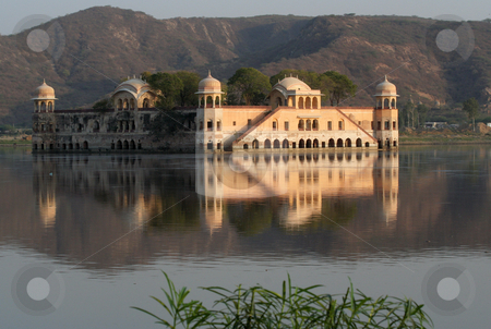Water Palace Jaipur India Water with Reflections stock photo, Water Palace Jaipur India Water with Reflections by William Perry