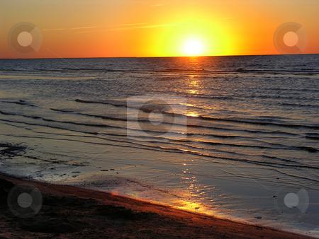 Sunset Baltic Ocean Jurmula Latvia stock photo, Sunset Baltic Ocean Jurmula Latvia Beach by William Perry