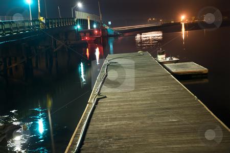 Padnaram Bridge Dartmouth Massachusetts at Night with Reflection stock photo, Padnaram Bridge Dock Boat Harbor Buzzards Bay Dartmouth MassachusettsNight Lights and Reflections by William Perry