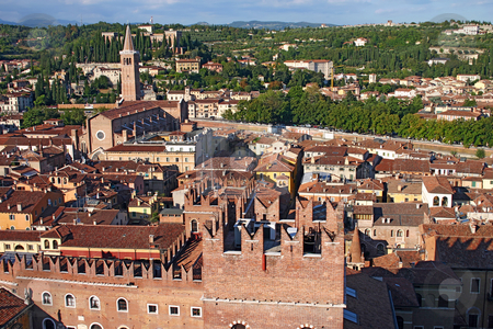 Skyline of Verona, Italy from the Lamberti Tower stock photo, Skyline of Verona, Italy, from the top of the Lamberti Tower showing the Scaligeri Palace, church of Santa Anastasia with the Archaeological Museum in the distance by Stephen Goodwin