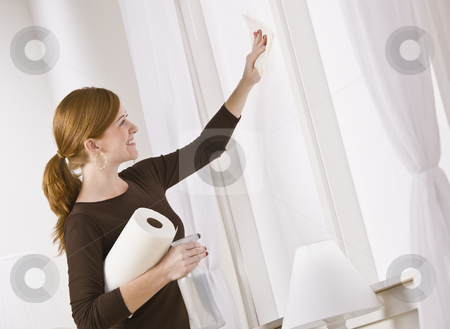 Attractive woman cleaning window stock photo, Attractive woman cleaning window holding paper towel. horizontal by Jonathan Ross