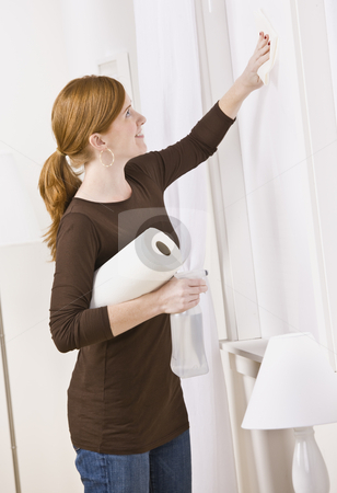 Attractive woman cleaning stock photo, Attractive woman cleaning window with paper towel. Vertical Composition. by Jonathan Ross