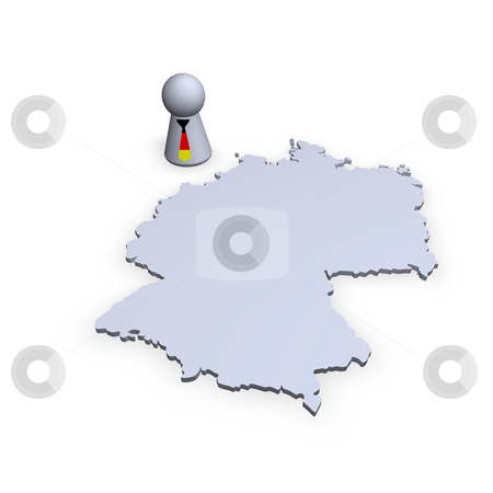 Germany map stock photo, Germany map and play figure with tie in german colors by J?