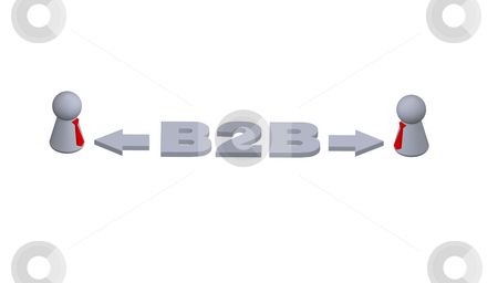 B2B stock photo, B2B text in 3d, play figures with red tie and pointers by J?