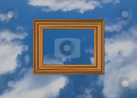 Heavenly picture stock photo, Wooden pictureframe on sky background by J?
