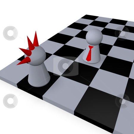 Freak chess stock photo, Play figures punk and businessman on chessboard by J?