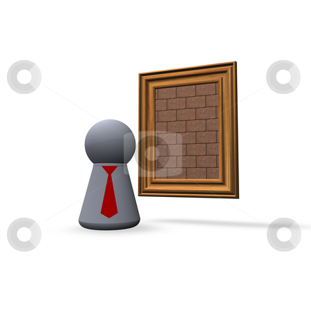 Modern art stock photo, Brick painting and play figure with red tie by J?