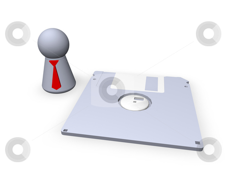 Safe as ... stock photo, Play figure with red tie and floppy by J?