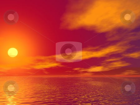 Sunset stock photo, Colorful landscape - ocean, clouds and sun by J?