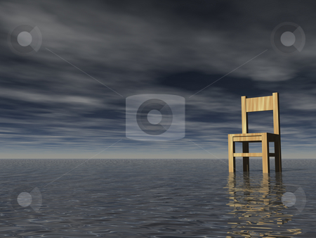 Surreality stock photo, Chair in the water and dark sky by J?