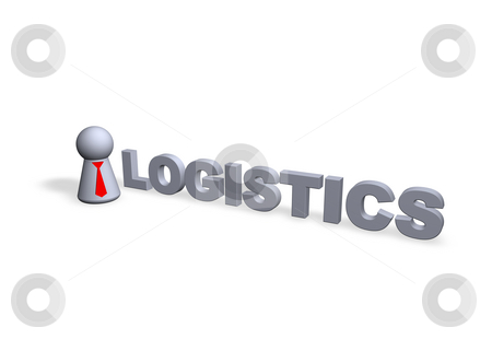 Logistics stock photo, Logistics text in 3d and play figure with red tie by J?