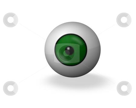 Green eye stock photo, Green 3d eye ball on white background by J?