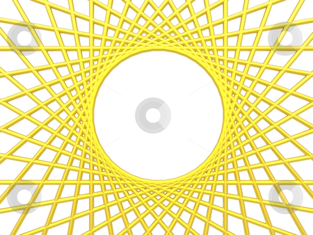 Net stock photo, Backgrund illustration - golden net on white backgrund with hole in the middle by J?