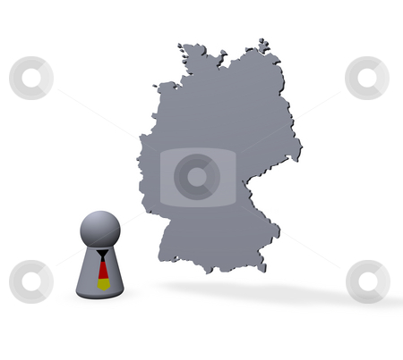 Germany stock photo, Germany map and play figure with tie in german colors by J?