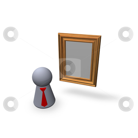 Art stock photo, Blank frameborder and play figure with red tie by J?